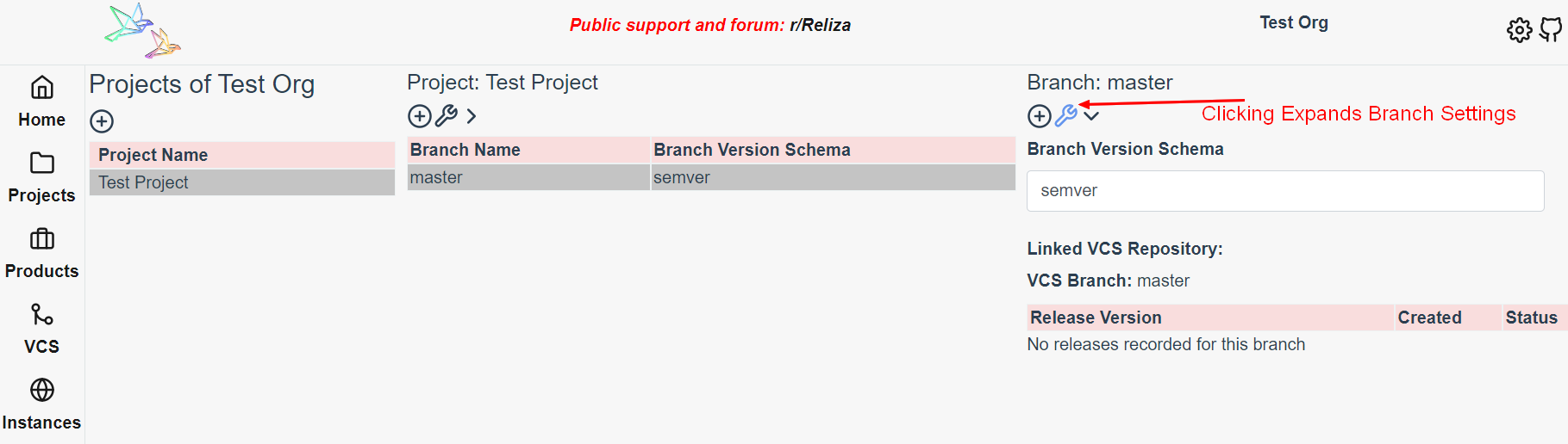 Branch View in Reliza Hub