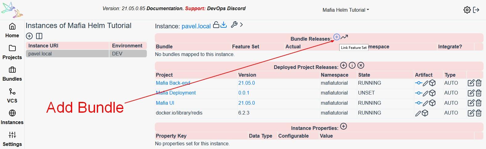 Add Bundle to Instance on Reliza Hub