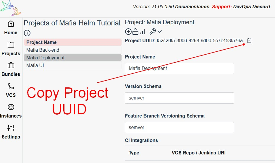 Copy Project UUID