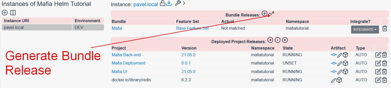 Generate Bundle Release on Integration Instance in Reliza Hub