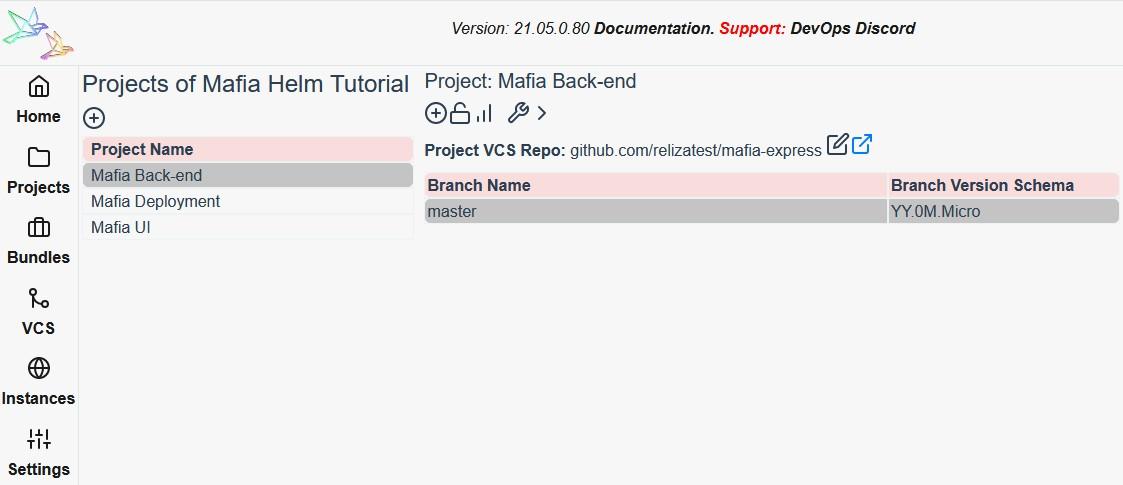 Mafia project set up on Reliza Hub
